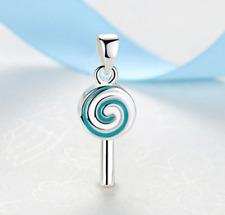 NEW Candy Silver Aqua Lollipop Charm Necklace Pendant DIY Jewelry European Bead