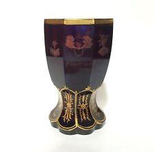 Antique Biedermeier Etched Allegory Beaker, Ruby / Amber Glass 1840s Bohemian