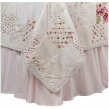 Simply Shabby Chic Pink Solid 100% Cotton Ruffled King Bed Skirt