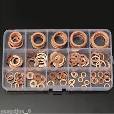 150Pcs 15 Sizes Assorted Solid Copper Crush Washers Sealing Seal Flat Ring Kits