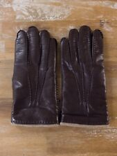 MORESCHI brown cashmere-lined leather gloves authentic - Size 8 / Small - NWOT