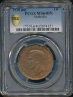 Australia, 1938(m) One Penny, 1d, George VI - PCGS MS64BN (Ch-Unc)