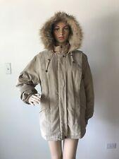 Charles Klein Beige Parka Jacket Coat Faux Fur Trim Removable Hood Zippered M
