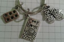 TIBETAN SILVER CHARMS COOK BOOK OVEN GLOVES CAKE TIN ROUND KEY RING FOR HANDBAG