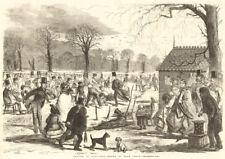 Skating in Hyde-Park - drawn by John Leech. London. Winter sports 1857