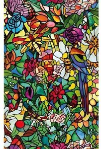 2Mtr x45cm FROSTED FLOWER STAINED GLASS WINDOW STICKY BACK PLASTIC SELF ADHESIVE
