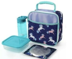 Arctic Zone Unicorn Insulated Lunch Box With Food Container, Bottle, Ice Pack