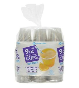 (264 CUPS) 9 OUNCE PLASTIC CLEAR COCKTAIL TUMBLER USA MADE/CATERING/PARTIES
