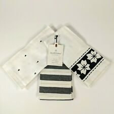 Hearth and Hand Magnolia - Hand Tip Towel Set of 3 - White/Black X+Stripe+Star