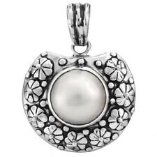"1 9/16"" WHITE MABE PEARL 925 STERLING SILVER pendant"