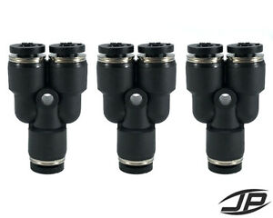 """1/4"""" OD Tube to 1/8"""" OD Reducer Pneumatic Y Splitter Push Air Fitting 3 PCS"""