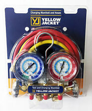 """New listing Yellow Jacket 42006 - Series 41 Manifold, 3-1/8"""" Gauges w/Hoses, R22/134A/404A"""