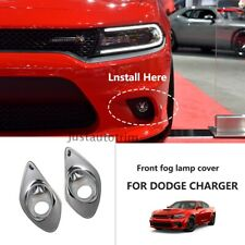 Chrome Front Bumper Fog Lamp Cover Molding Tirm For Dodge Charger 2015+