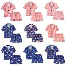 Toddler Kids Baby Boy Girls Print Pajamas Set Sleepwear T shirt Shorts Outfits