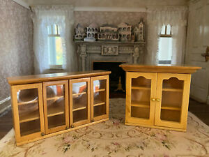 Vintage Miniature Dollhouse Bespaq Wood & Acrylic Kitchen Cabinet Pieces 1990's