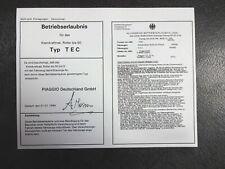 Datenblatt ABE BE Betriebserlaubnis VESPA PIAGGIO TEC blanko TOP Papier
