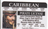 Johnny Depp PIRATE Pirates of the Carribean plastic ID card Drivers License -