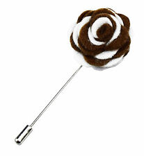 Mens Lapel Pin for Blazer Suit Jacket in Brown Wedding Gift Handmade Stick White