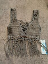 35bcb536af25d NEW $250 BEACH BUNNY SADIE CROCHET FRINGE KNIT GREY TOP ONE SIZE FITS ALL