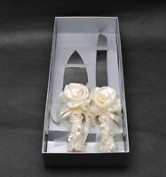 Abbie Home Ivory Silk Rose Wedding Cake Knife & Server Set Lace Bow Tie Décor
