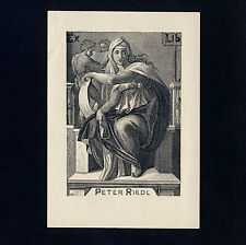 Exlibris Bookplate * PETER RIEDL Frauengestalt Schriftrolle Scroll Female Figure