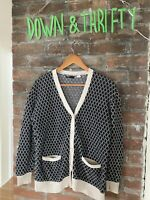 Urban Outfitters BDG Preppy Argyle Knit Grandpa Cardigan Sweater Pockets M GUC