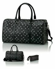 "Signature Lamborghini Monogram Black Leather 20"" Travel Duffel  Weekend Bag -New"
