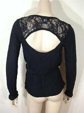 NEW FAMOUS CATALOG MODA INTERNATIONAL LACE INSET VISCOSE TEE TOP BLACK SZ XS