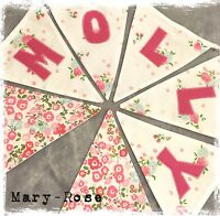 Baby Girl Personalised Name BUNTING Using NEXT Ditsy Vintage Fabric PINK Flowers