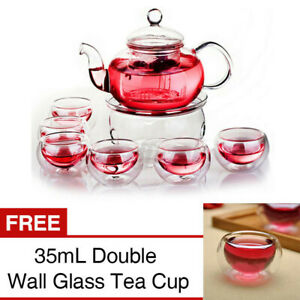Heat Resistant Elegant Glass Tea Pot Set Infuser Teapot+Warmer+6 Double Wall Cup