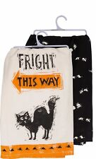 "New!~Tea Towel~Fright This Way~Halloween Black Cat~28""~Hand/Kitchen /Dish"