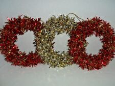 """Tinsel Wreaths Set 3 2 Red and 1 Gold & Silver 9"""" Holiday Christmas"""