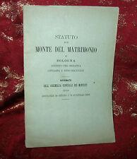 Statuto del Monte del Matrimonio di Bologna 1876