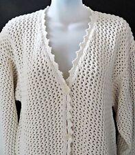 Kikit Maurice Sasson White Knit Crochet Cotton Women Cardigan Sweater Sz L XL