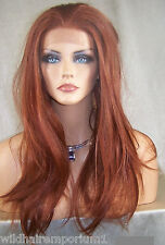 Lace Front Wig Bright Copper Red # 130 Iron Heat Safe OK Long Straight Dah