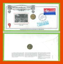 ENVELOPPE 1er JOUR 1/01/1989.M.D.P JETON LE SERMENT DU JEU DE PAUME
