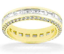 Round & Baguette Diamond Band 14k Yellow Gold Eternity Ring G VS 2.60 tcw