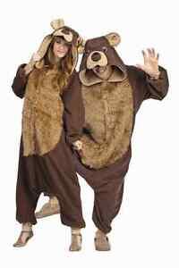 ADULT BAILEY THE BEAR COSTUME TEDDY CUB FOREST ANIMAL PAJAMAS FUNSIES BROWN
