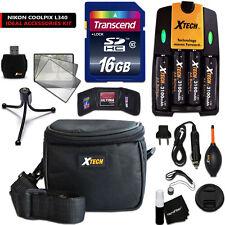 Xtech Kit for NIKON Coolpix L340 - 16GB Memory w/ 4 Btrs + Chargr + Case +MORE
