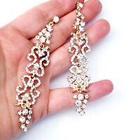 Chandelier Earrings Rhinestone Clear Crystal Bridal Prom Pageant Drag 4 inch
