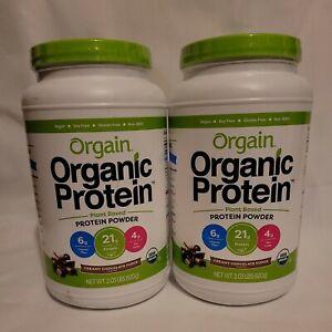 2 Orgain Organic Plant Based Protein Powder Creamy Chocolate Fudge 2.03 LB 04/22