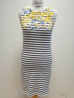 LL790 WOMENS JOULES WHITE BLACK STRIPES SLIM FIT BODYCON DRESS UK 8 S EU 36