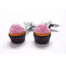 Cupcake Cufflinks Dessert Snack Sweets + Box & Cleaner