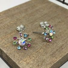 Multi Color Flower Crystal Titanium Post Stud Earrings US Seller Made in Korea