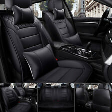 US Black Car PU Leather Seat Cover 5-Seats SUV Truck Front+Rear Cushion Full Set