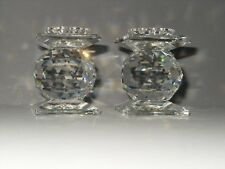 Swarovski Crystal Candle Holders Votive Stand Set of 2- Early Sc Block Mark