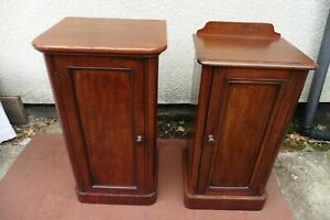 PAIR OF ANTIQUE VICTORIAN MAHOGANY BEDSIDE CHESTS, CABINETS, TABLES 1880 / 90s.