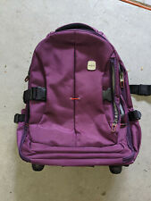 "SKYMOVE 19"" Rolling Backpack Roller Bag Purple Travel Carry On Luggage Laptop"