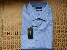 HUGO BOSS EASY IRON BLUE STRIPED REGULAR FORMAL SMART SUIT COTTON SHIRT 17.5 44