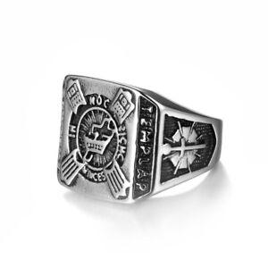 Tribal Spirit Ring Edelstahl Tempelritter Templer Kreuzritter Siegelring Herren
